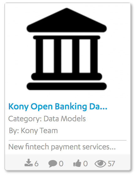 Open Banking Data Model on Kony Marketplace